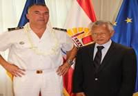 Le président de l'Assemblée de la Polynésie française reçoit le Contre-Amiral Laurent LEBRETON