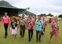 M. John TOROMONA aux côtés du Président du Pays lors de sa visite officielle sur l'île de Moorea